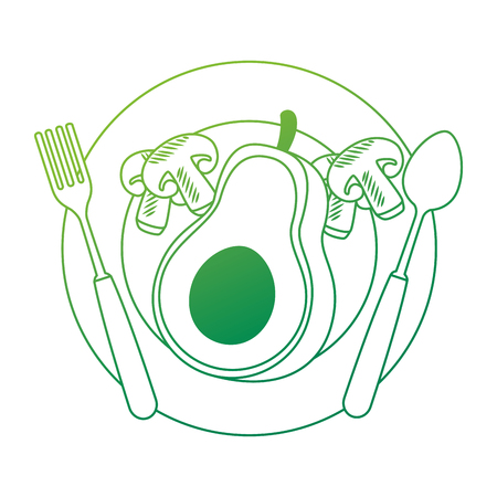 fresh avocado in dish with mushroom vegetarian food vector illustration design Standard-Bild - 102908393