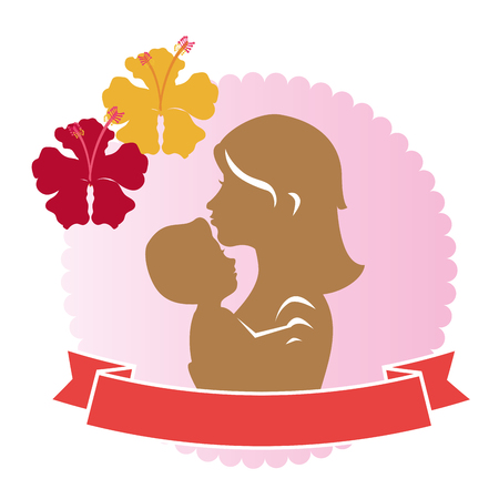 mother and baby with flowers decorative frame vector illustration design