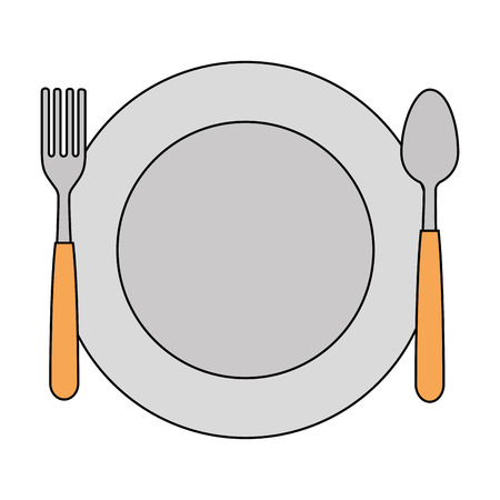 dish with fork and spoon vector illustration design Ilustracja