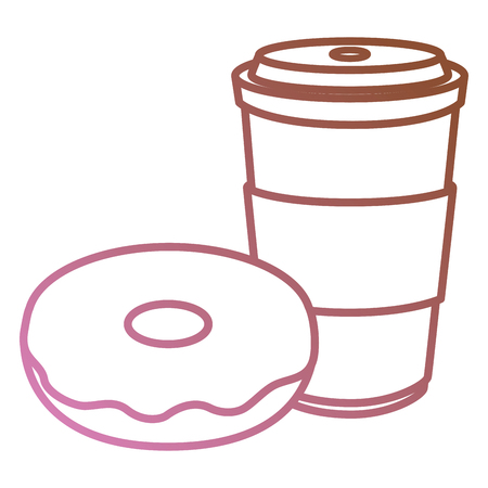donut with coffee cup and plastic container vector illustration design