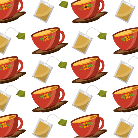 tea cup on dish and teabag pattern design vector illustration