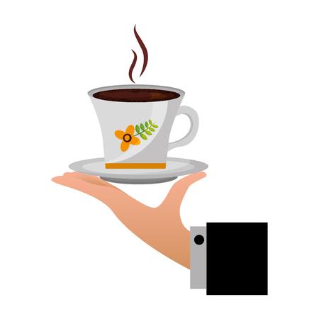 hand holding decorative flower hot coffee cup on dish vector illustration Illusztráció