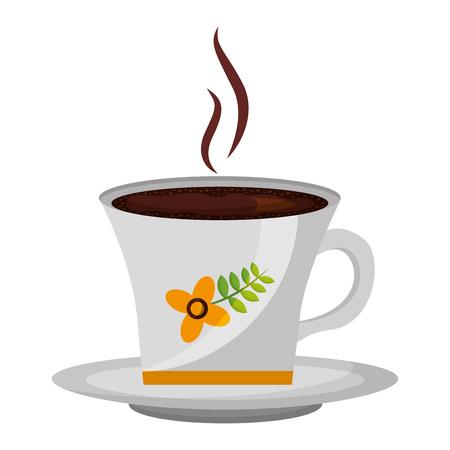 hot beverage decorative coffee cup on dish vector illustration Standard-Bild - 102886980