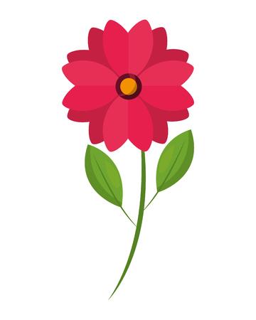cute flower natural stem leaves image vector illustration Ilustrace
