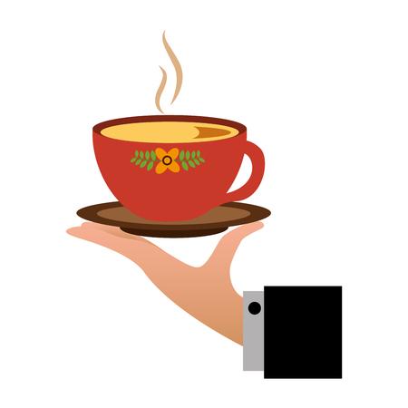 hand holding hot tea cup decoration flowers vector illustration Illustration