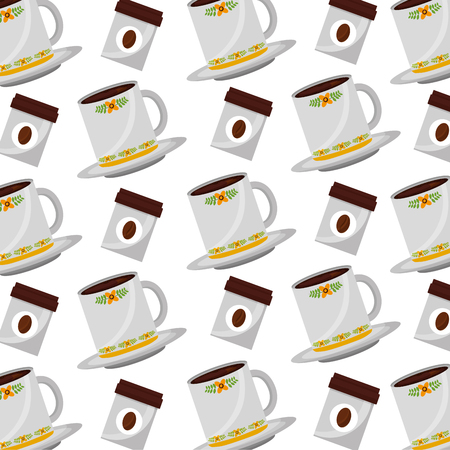 coffee cups on dishes with coffee products background vector illustration