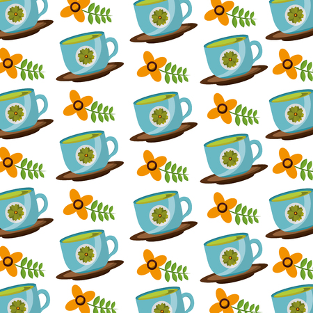 coffee cup on dish with flowers decoration background vector illustration