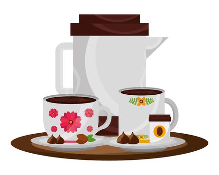 coffee maker and cups with chips chocolate vector illustration