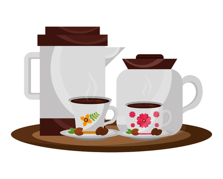 coffee maker and teapot with cups and seeds vector illustration