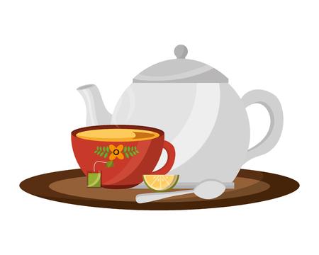 teapot and cup spoon lemon slice tea bag on tray vector illustration Illustration