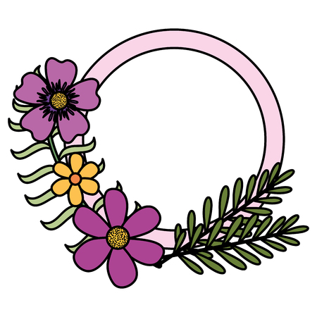 flowers and leafs garden circular frame vector illustration design Illustration