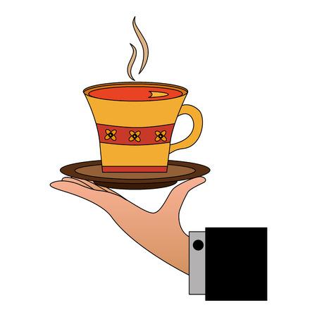 hand holding hot tea cup decoration flowers vector illustration Ilustrace