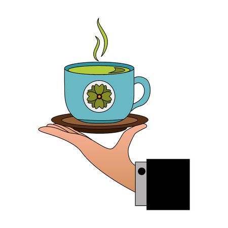 hand holding hot tea cup decoration flowers vector illustration Illustration