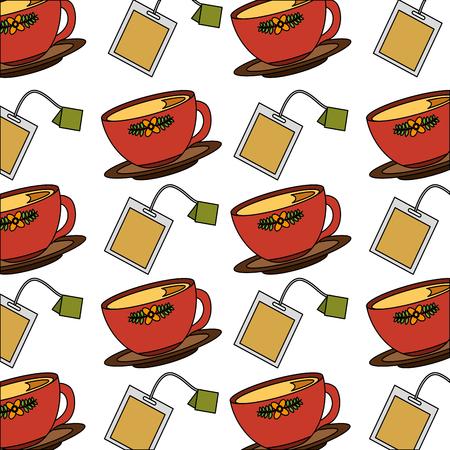 tea cup on dish and teabag pattern design vector illustration