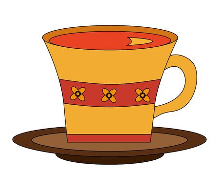 flowers decorative tea cup ceramic on dish vector illustration