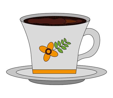 flowers decorative coffee cup ceramic on dish vector illustration
