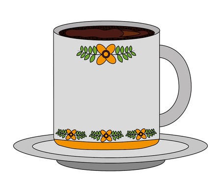 flowers decorative coffee cup ceramic on dish vector illustration