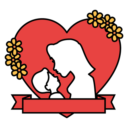 mother and baby in heart with flowers frame vector illustration design