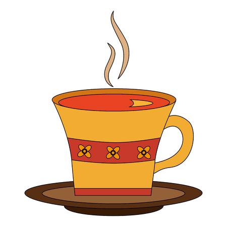 hot beverage decorative tea cup on dish vector illustration