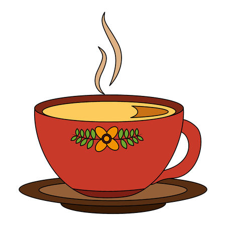 hot beverage decorative tea cup on dish vector illustration