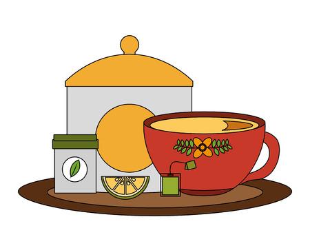 tea cup with sugar lemon and herbal teabag vector illustration