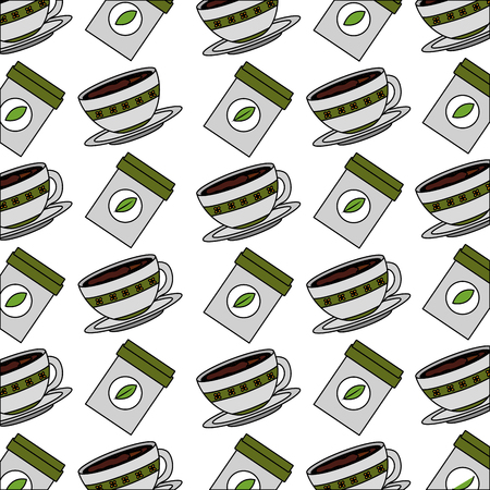 coffee cup on dish and herbal teabag pattern design vector illustration Çizim