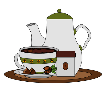 coffee maker and cup with cocoa beans on tray vector illustration