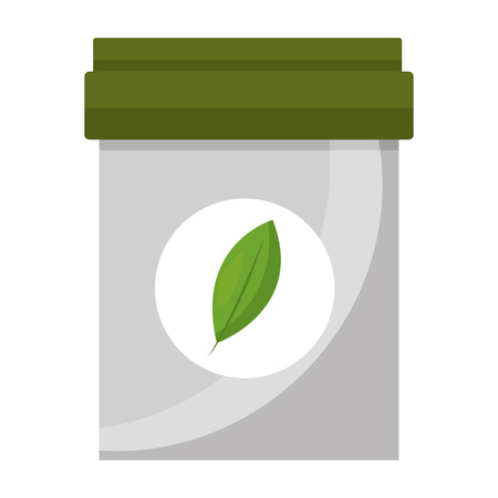 plastic container tea bag herbal product vector illustration