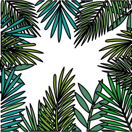 leafs plant frame pattern vector illustration design Illustration