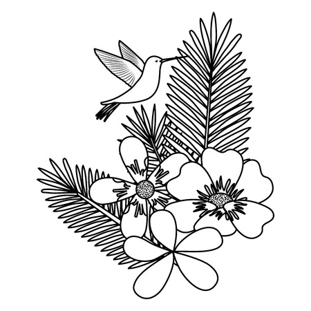 flowers and leafs garden with hummingbird vector illustration design