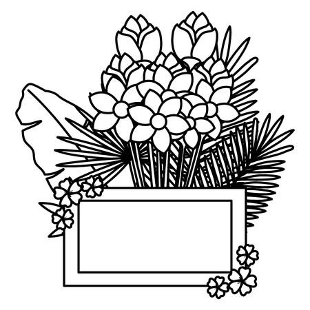 flowers and leafs garden frame vector illustration design 写真素材 - 102896348