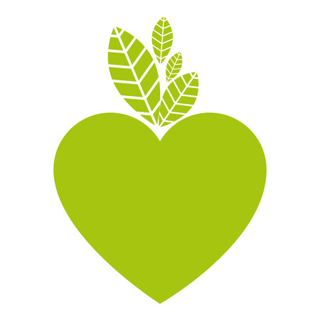 heart and leafs ecology icon vector illustration design Çizim