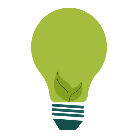 bulb with leafs ecology icon vector illustration design