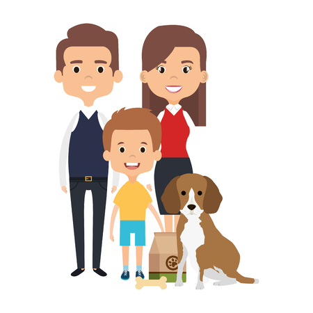 parents with son and cute dog vector illustration design