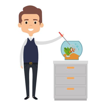 man with cute fish in aquarium vector illustration design Illustration