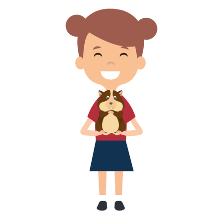 little girl with cute guinea pig vector illustration design  イラスト・ベクター素材