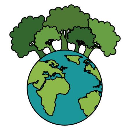 Salvar el planeta tierra con árboles forestales ecología, diseño de ilustraciones vectoriales