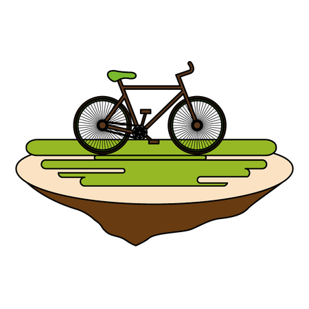 bicycle in the grass ecology icon vector illustration design