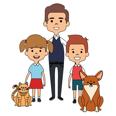 father and kids with cute mascots vector illustration design