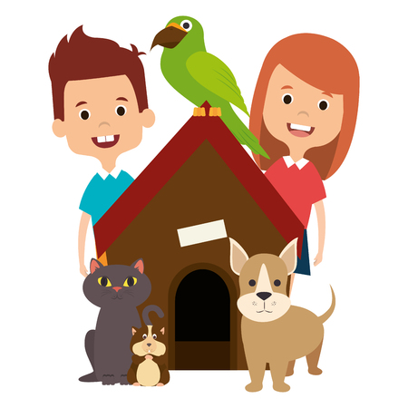 little kids with cute pets vector illustration design Illustration