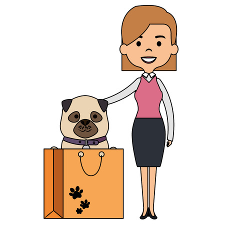 woman with cute dog in bag vector illustration design Illustration