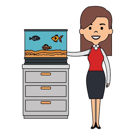 woman with cute fish in aquarium vector illustration design