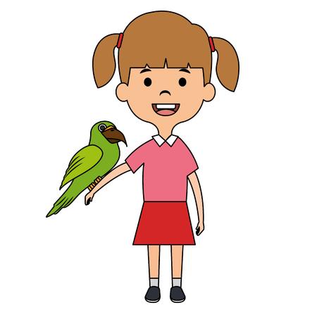 little girl with cute parrot vector illustration design Иллюстрация