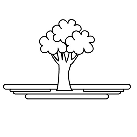 ecology tree plant icon vector illustration design