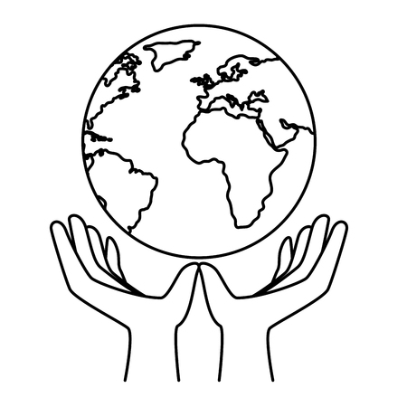 hands protected the planet earth ecology vector illustration design Illustration