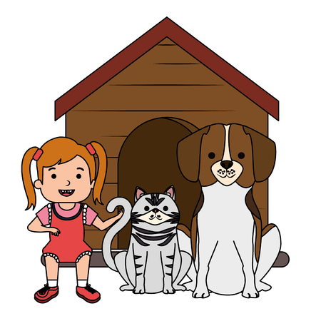 little girl with cute dog and cat vector illustration design