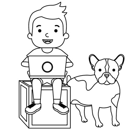 boy with laptop and cute dog vector illustration design Banque d'images - 102911525