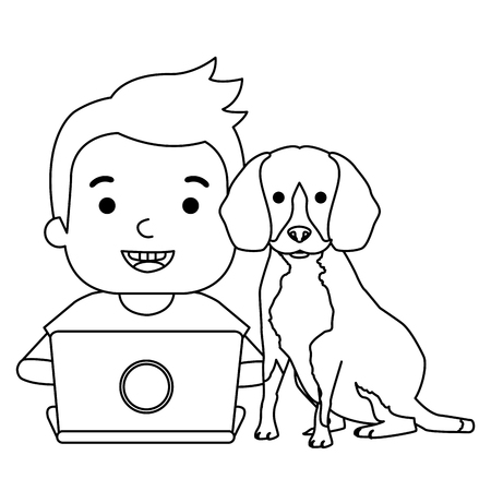 boy with laptop and cute dog vector illustration design Banque d'images - 102911697