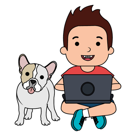 boy with laptop and cute dog vector illustration design Banque d'images - 102911701