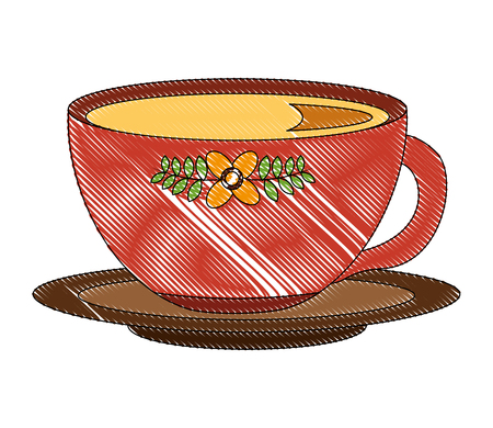 delicious tea cup with dish vector illustration design  イラスト・ベクター素材